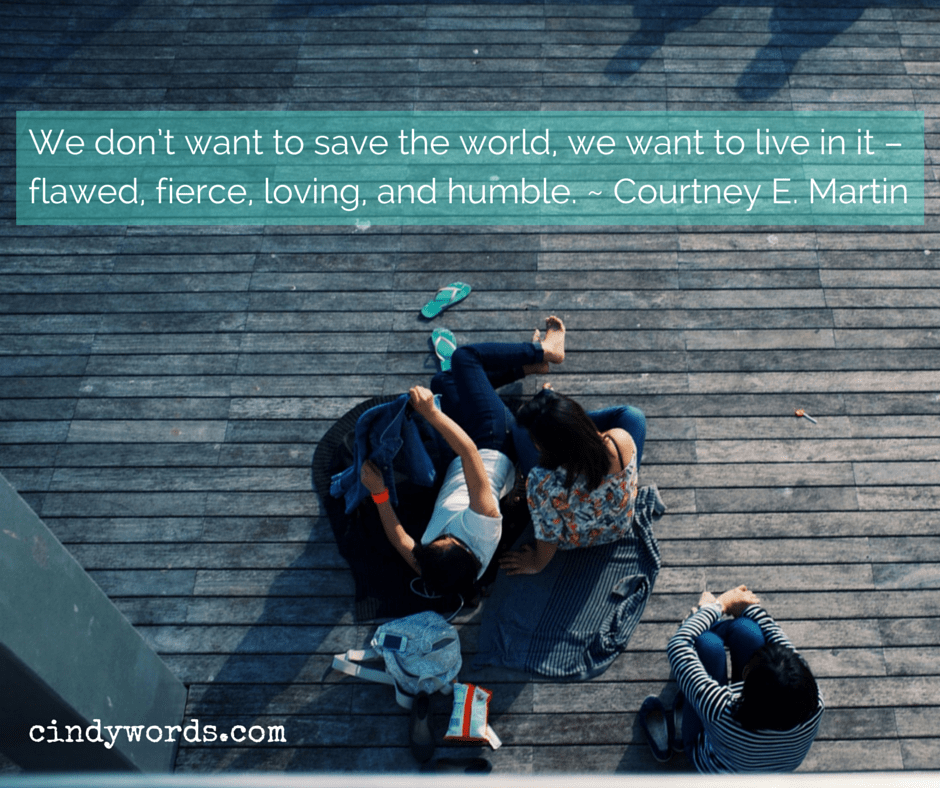 we don't want to save the world, we want